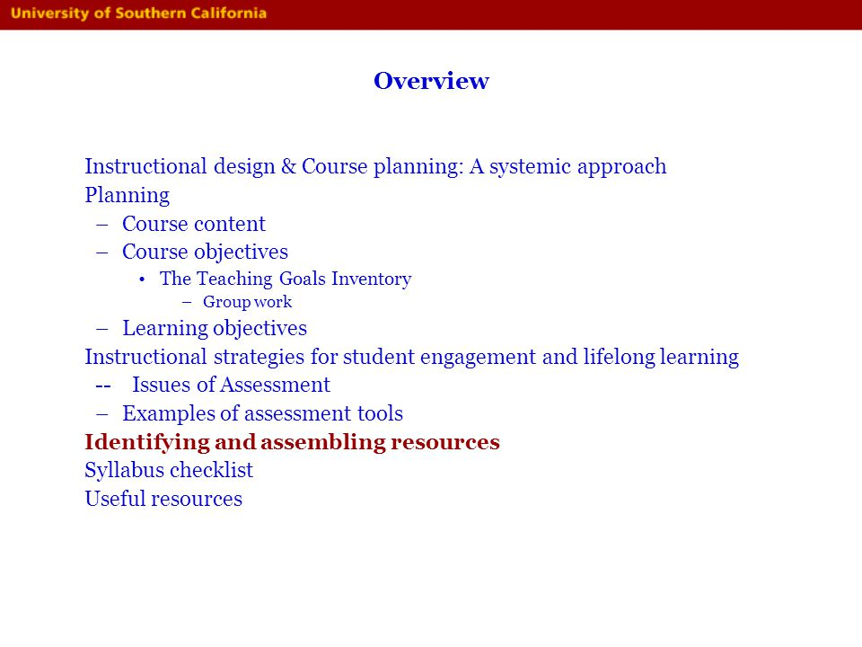 Overview Instructional design & Course planning: A systemic approach