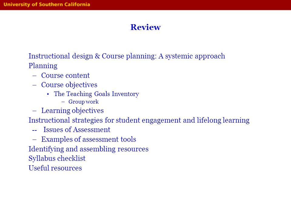 Review Instructional design & Course planning: A systemic approach