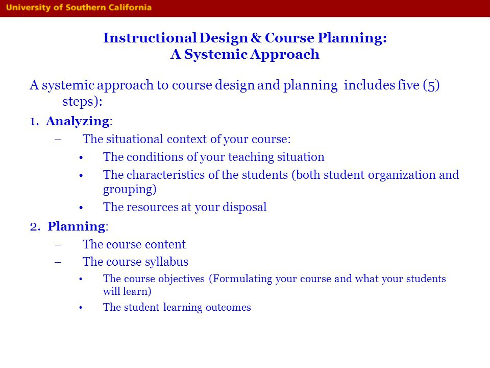 Instructional Design & Course Planning: A Systemic Approach