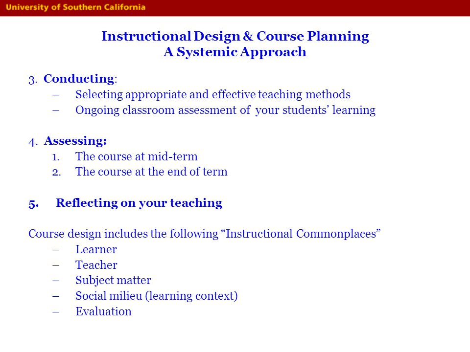Instructional Design & Course Planning A Systemic Approach