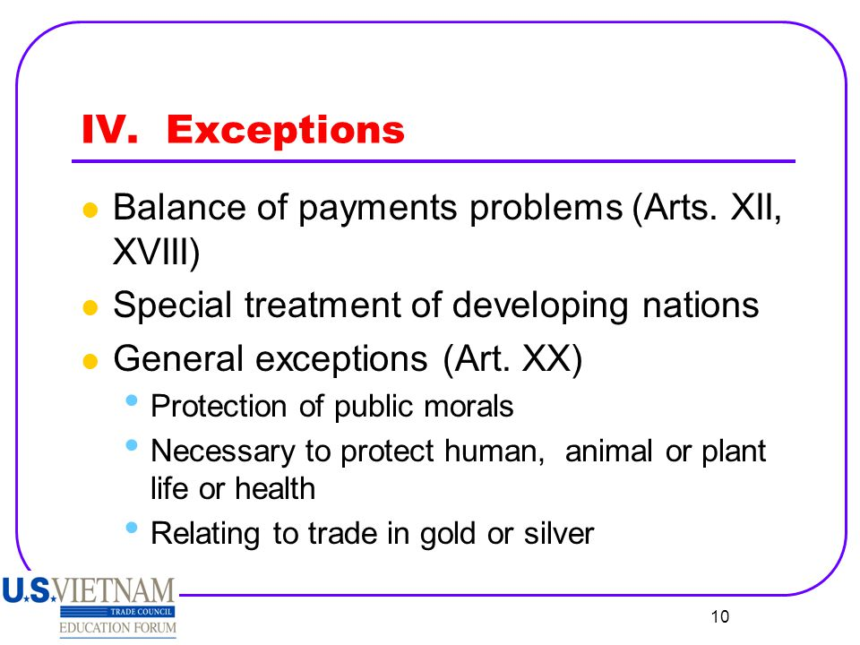 IV. Exceptions Balance of payments problems (Arts. XII, XVIII)