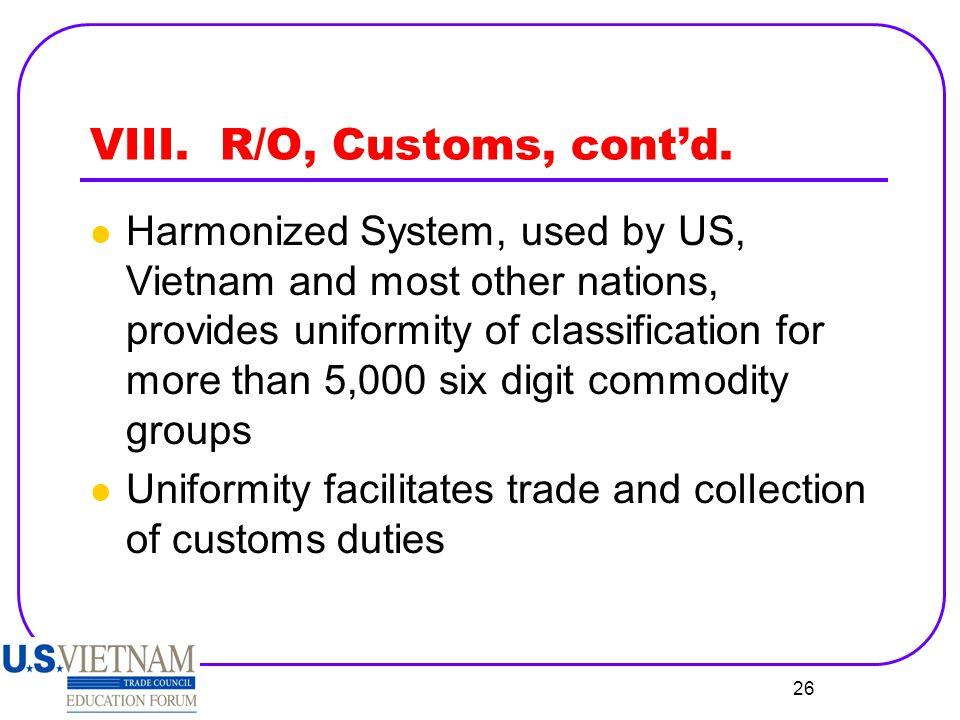 VIII. R/O, Customs, cont'd.