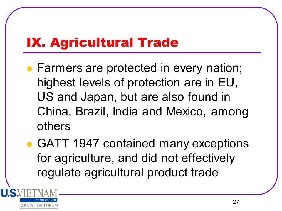 IX. Agricultural Trade