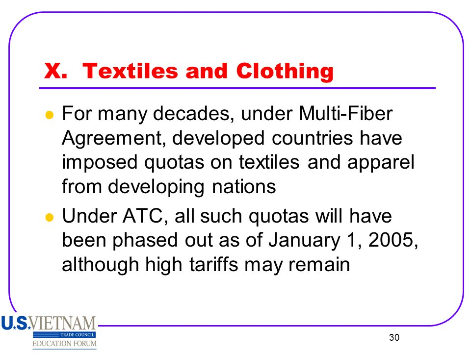 X. Textiles and Clothing