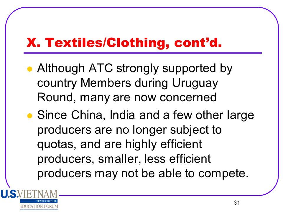 X. Textiles/Clothing, cont'd.