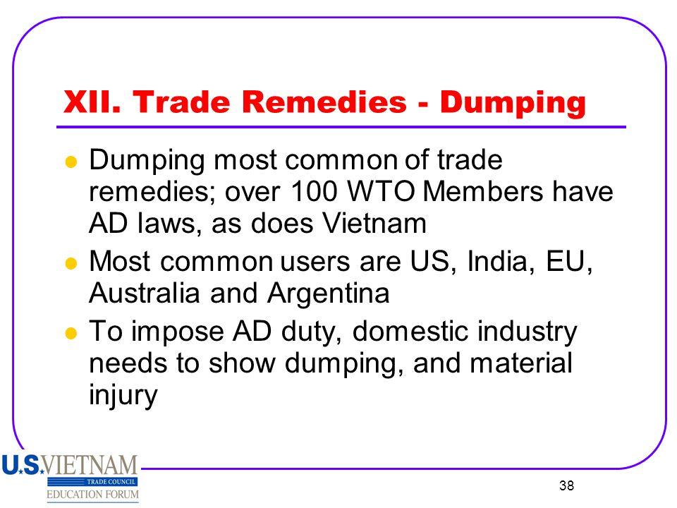 XII. Trade Remedies - Dumping