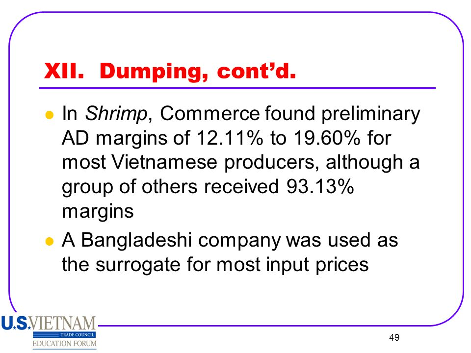 XII. Dumping, cont'd.