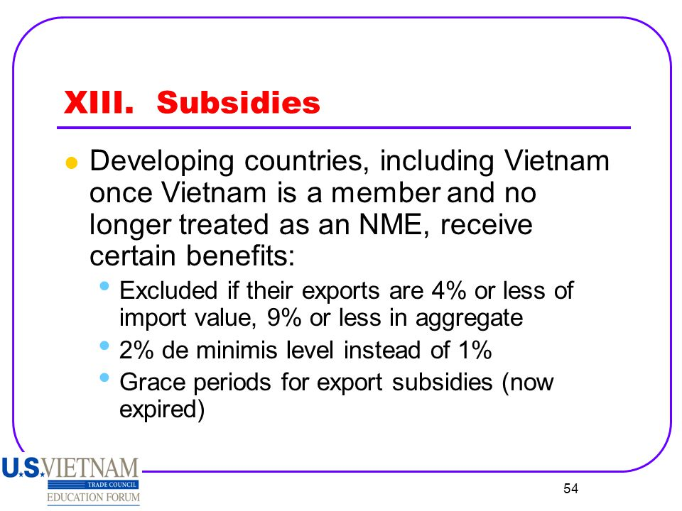 XIII. Subsidies Developing countries, including Vietnam once Vietnam is a member and no longer treated as an NME, receive certain benefits: