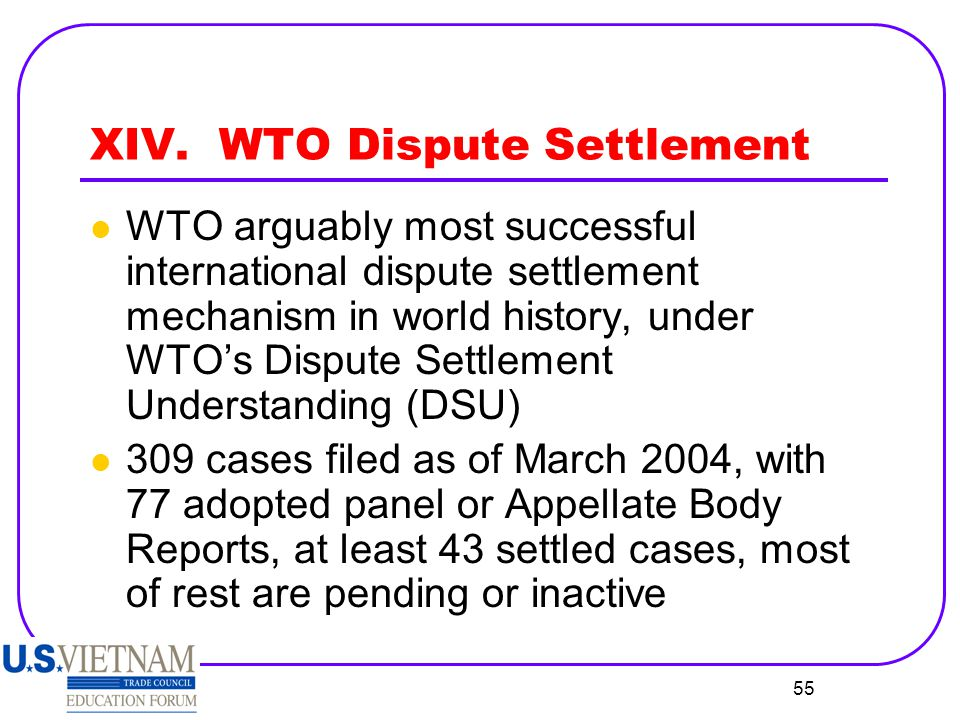 XIV. WTO Dispute Settlement