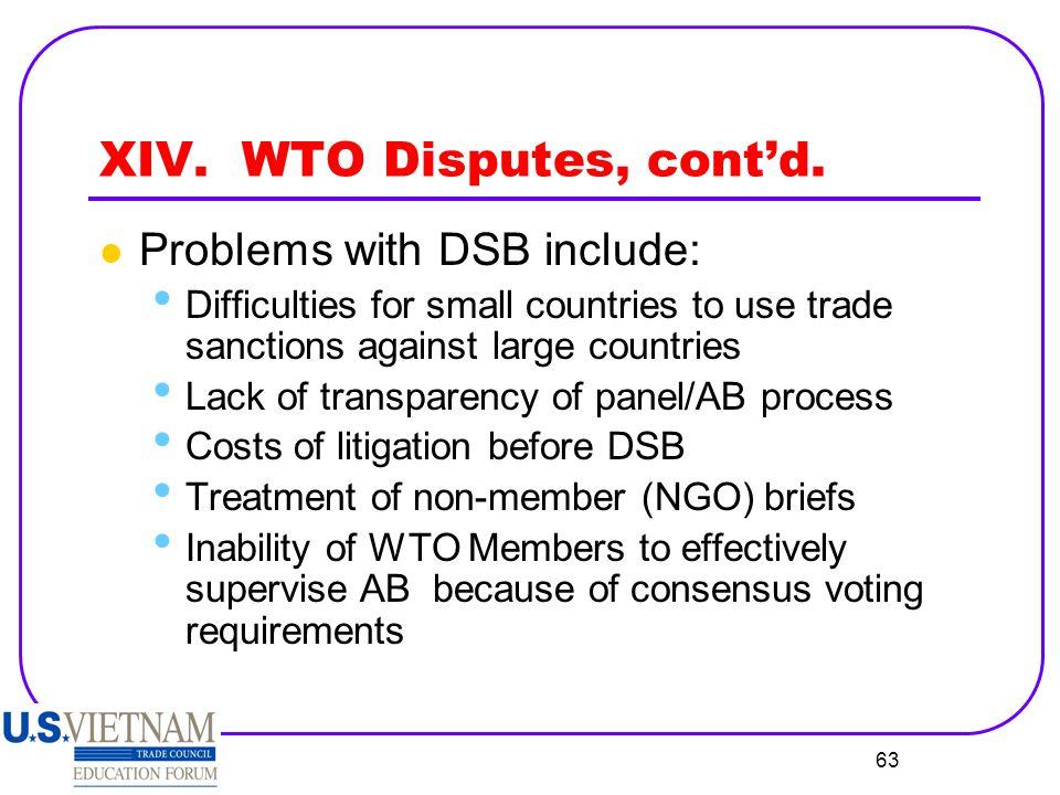 XIV. WTO Disputes, cont'd.