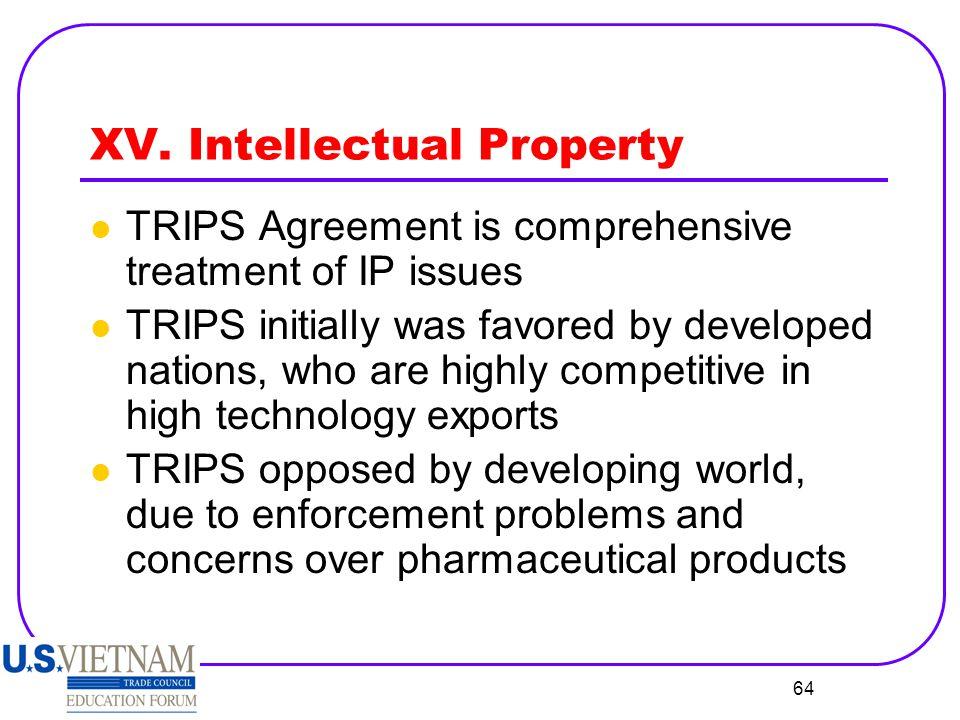 XV. Intellectual Property