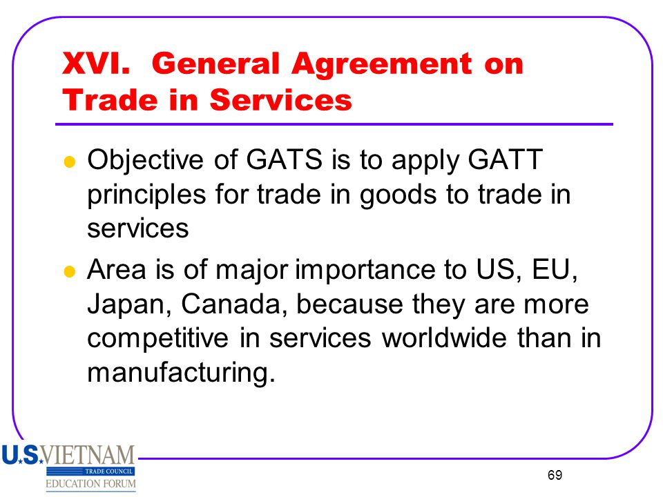 XVI. General Agreement on Trade in Services