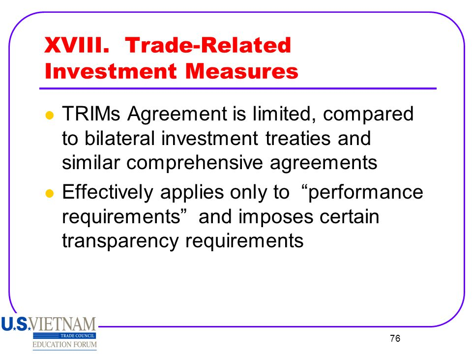 XVIII. Trade-Related Investment Measures