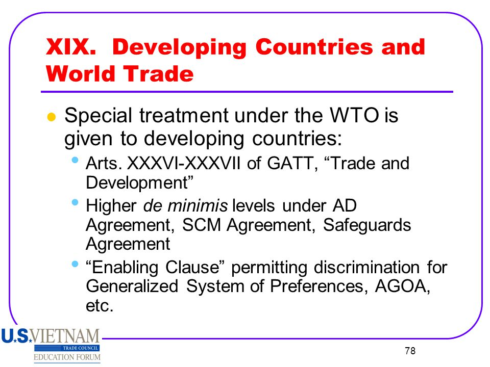 XIX. Developing Countries and World Trade