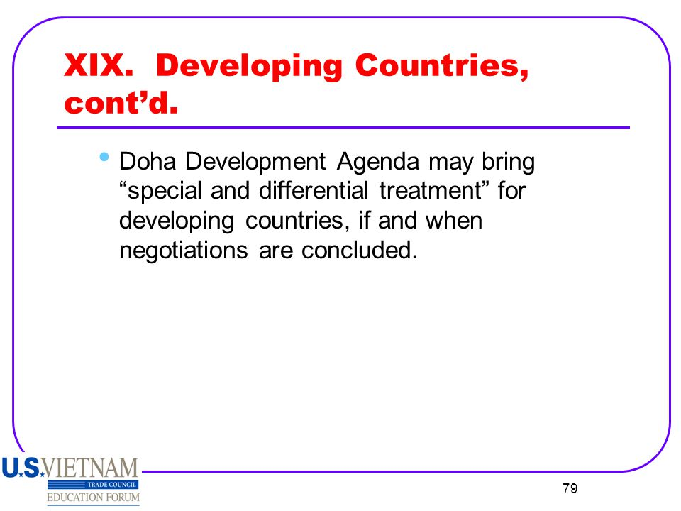 XIX. Developing Countries, cont'd.