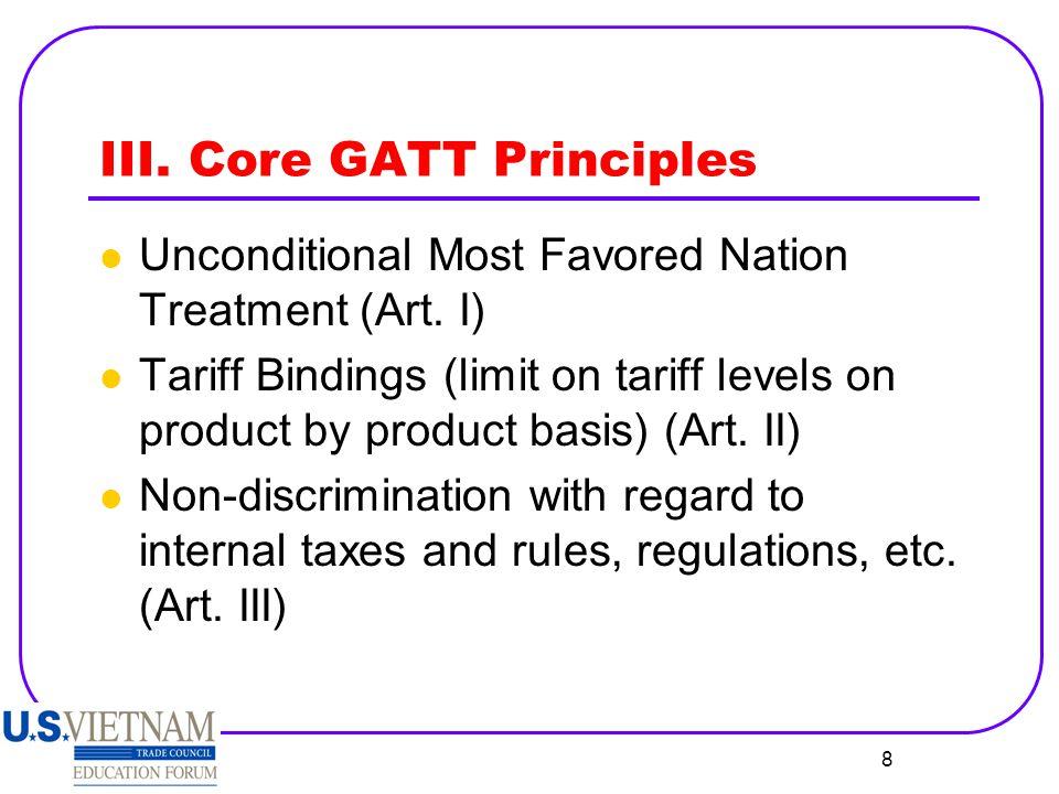 III. Core GATT Principles