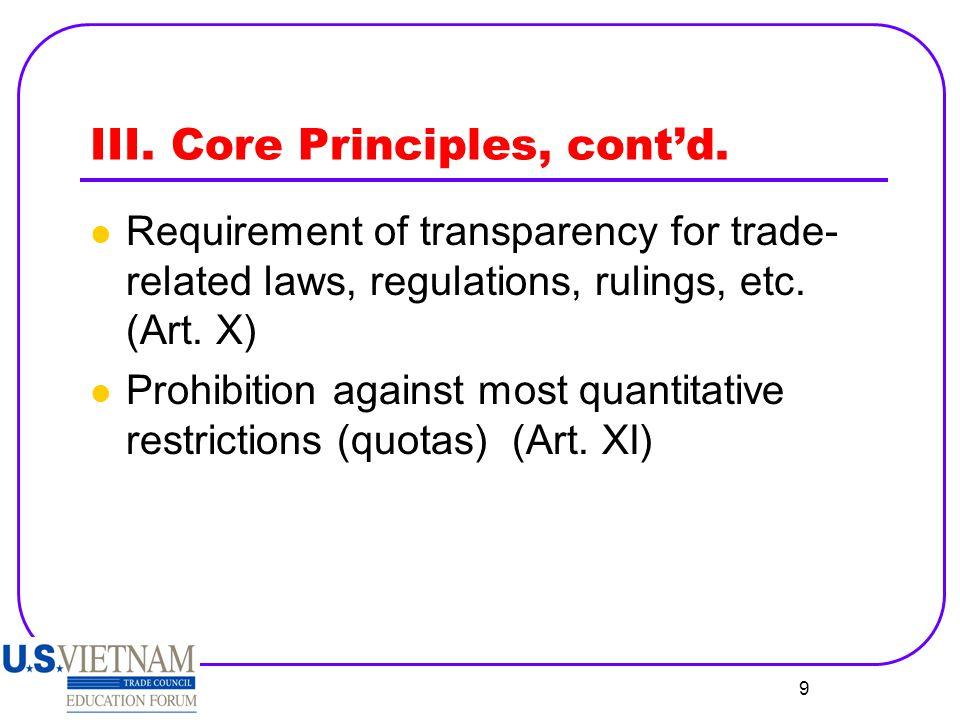 III. Core Principles, cont'd.