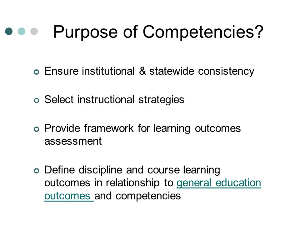 Purpose of Competencies