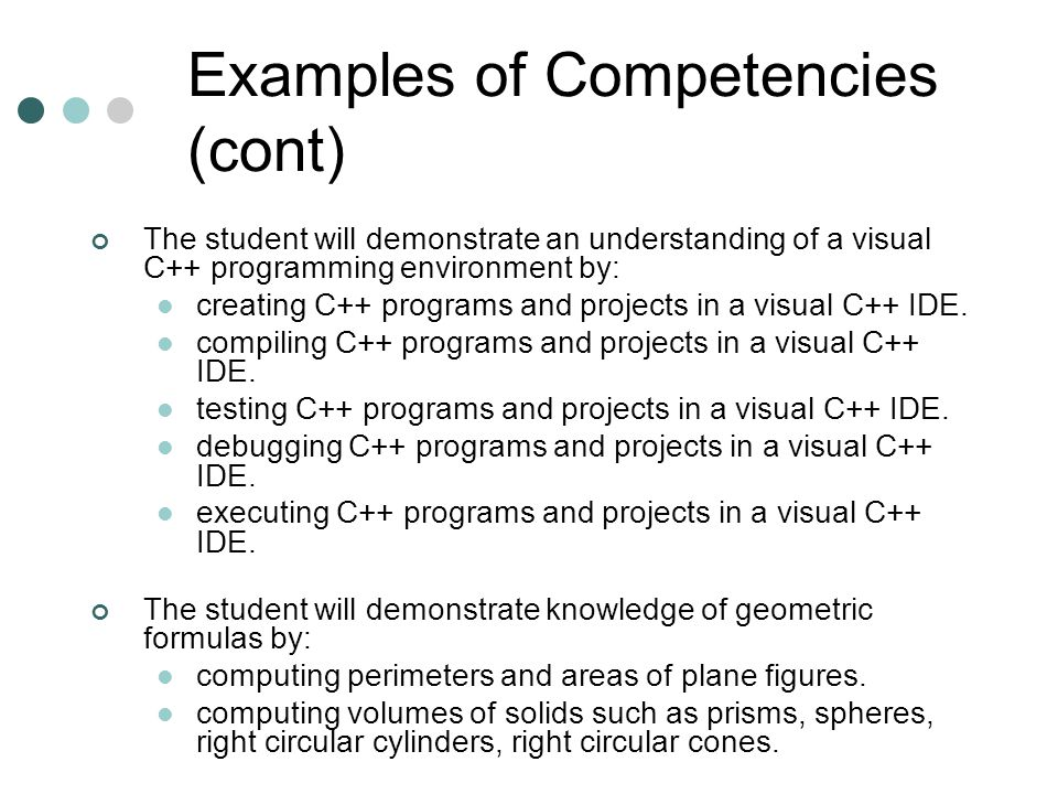 Examples of Competencies (cont)