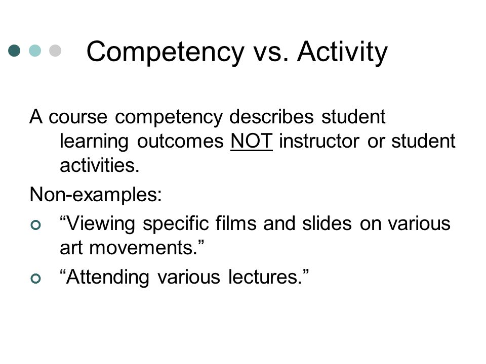 Competency vs. Activity