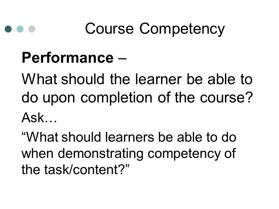 Course Competency Performance –