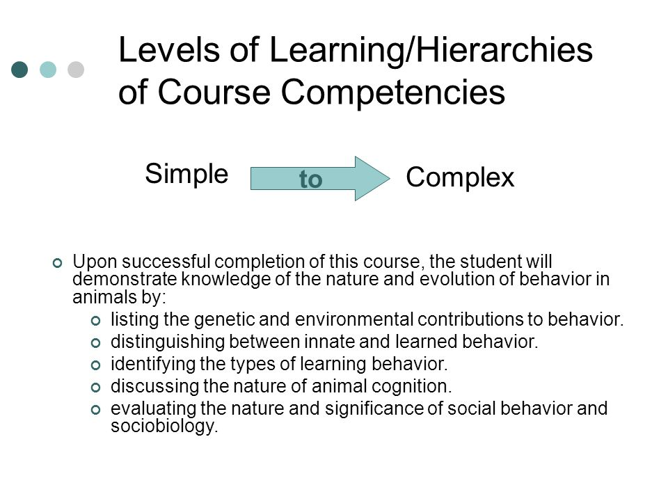 Levels of Learning/Hierarchies of Course Competencies