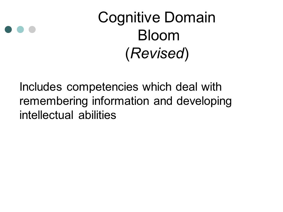 Cognitive Domain Bloom (Revised)