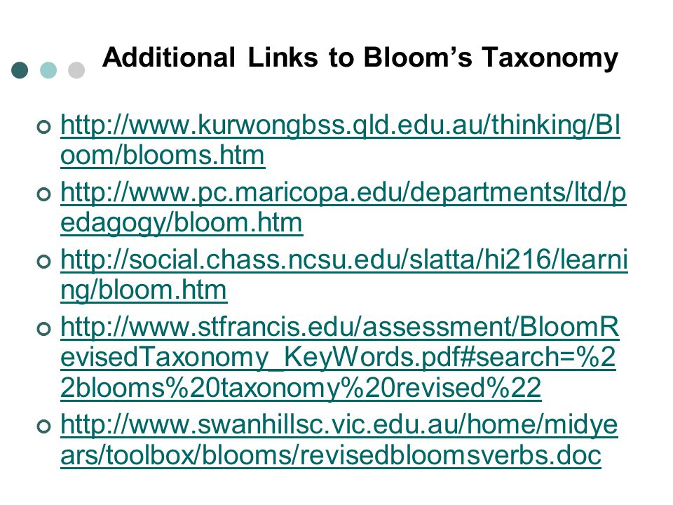 Additional Links to Bloom's Taxonomy