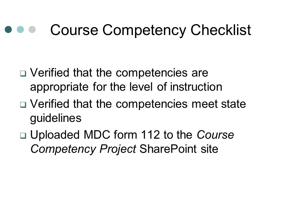 Course Competency Checklist