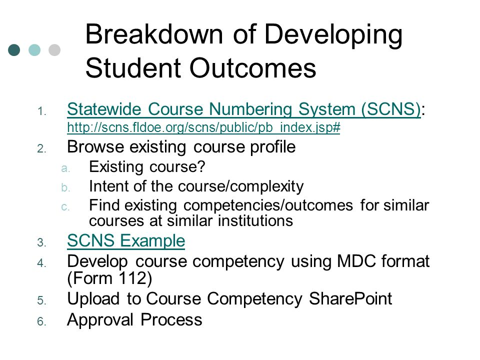 Breakdown of Developing Student Outcomes