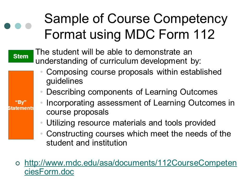 Sample of Course Competency Format using MDC Form 112