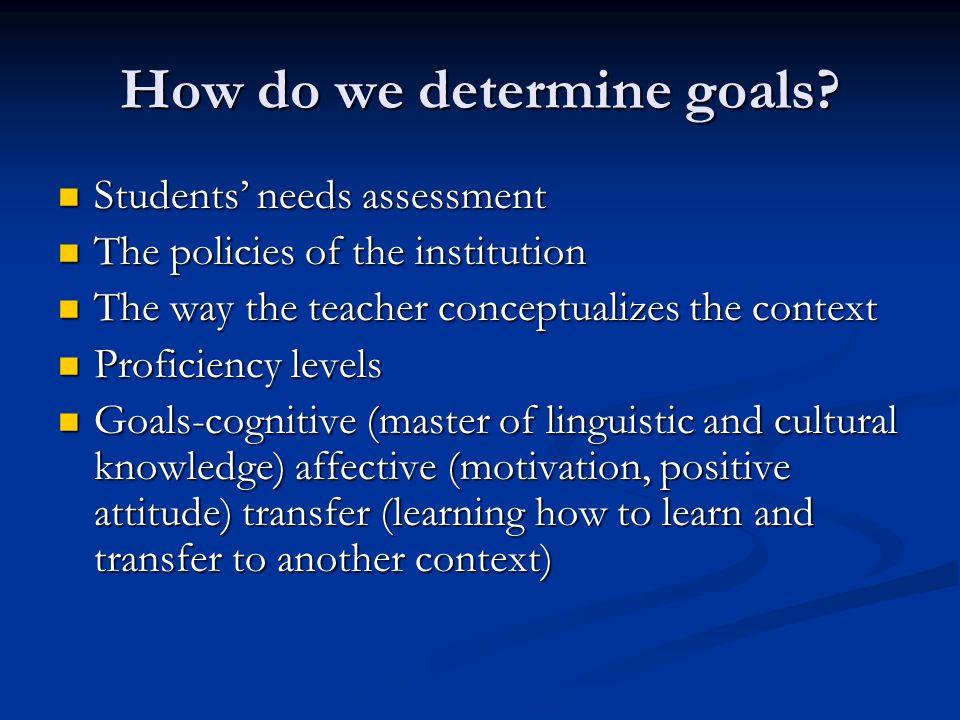 How do we determine goals