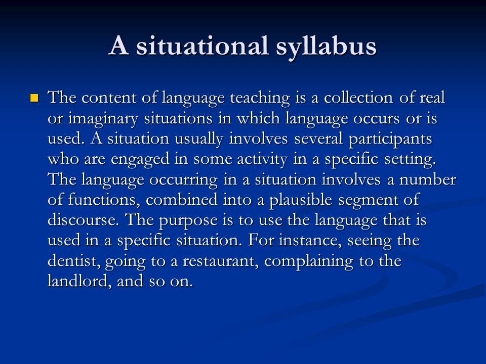 A situational syllabus