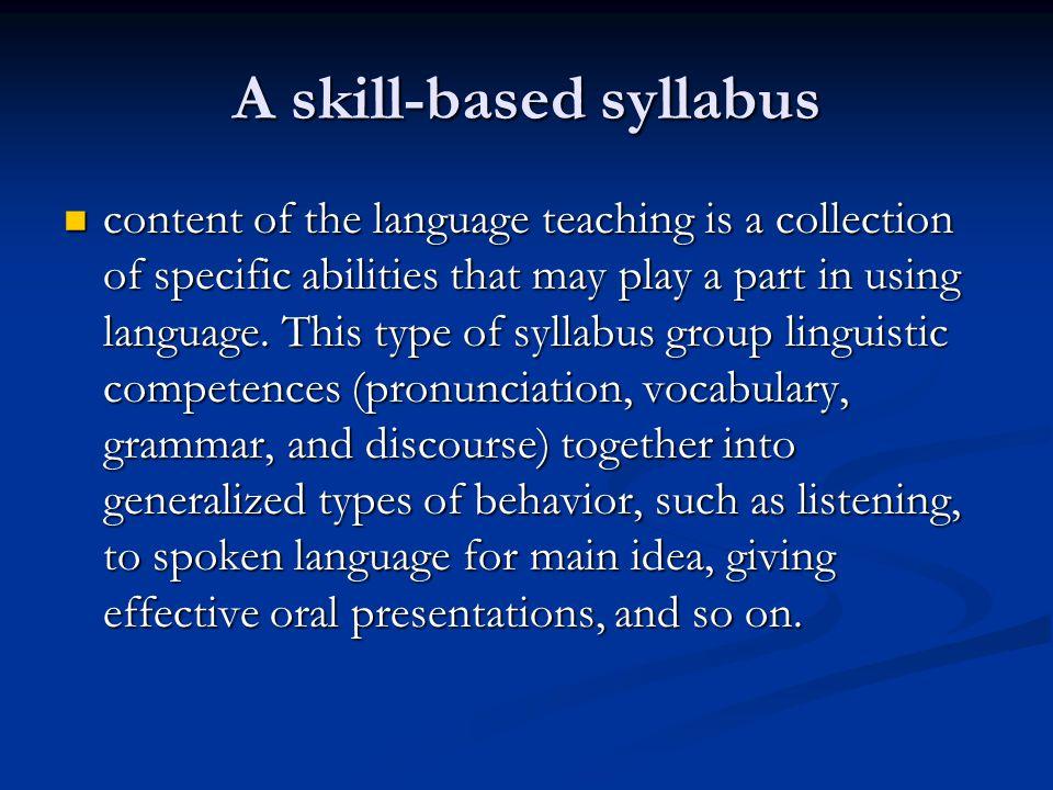 A skill-based syllabus