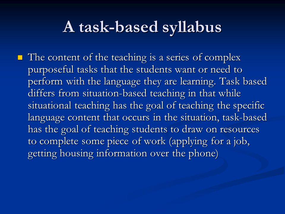 A task-based syllabus