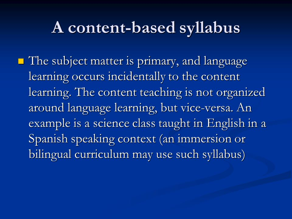 A content-based syllabus