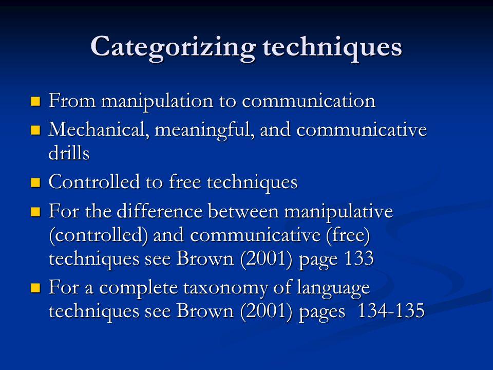 Categorizing techniques
