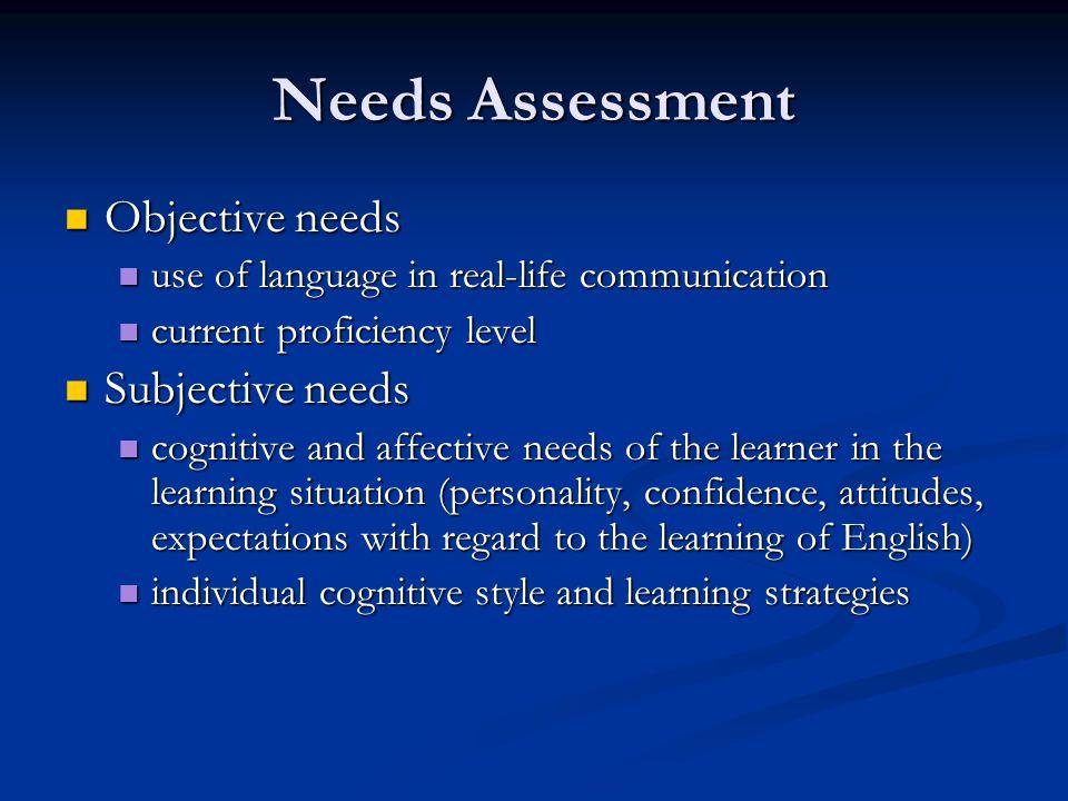 Needs Assessment Objective needs Subjective needs