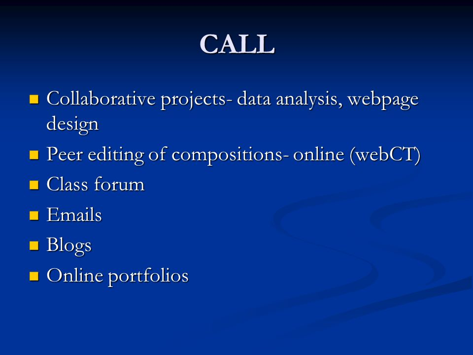 CALL Collaborative projects- data analysis, webpage design