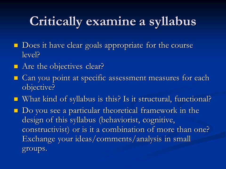 Critically examine a syllabus