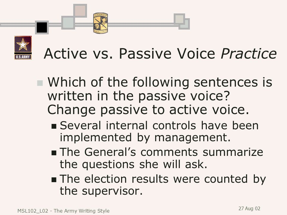 Active vs. Passive Voice Practice