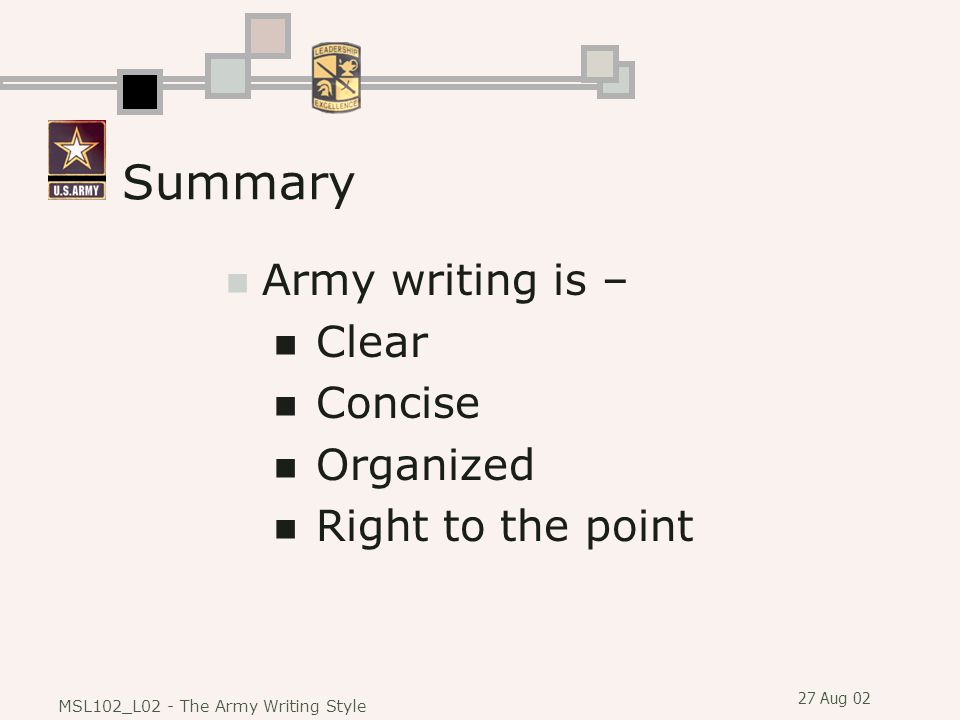 Summary Army writing is – Clear Concise Organized Right to the point