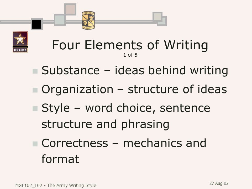 Four Elements of Writing 1 of 5