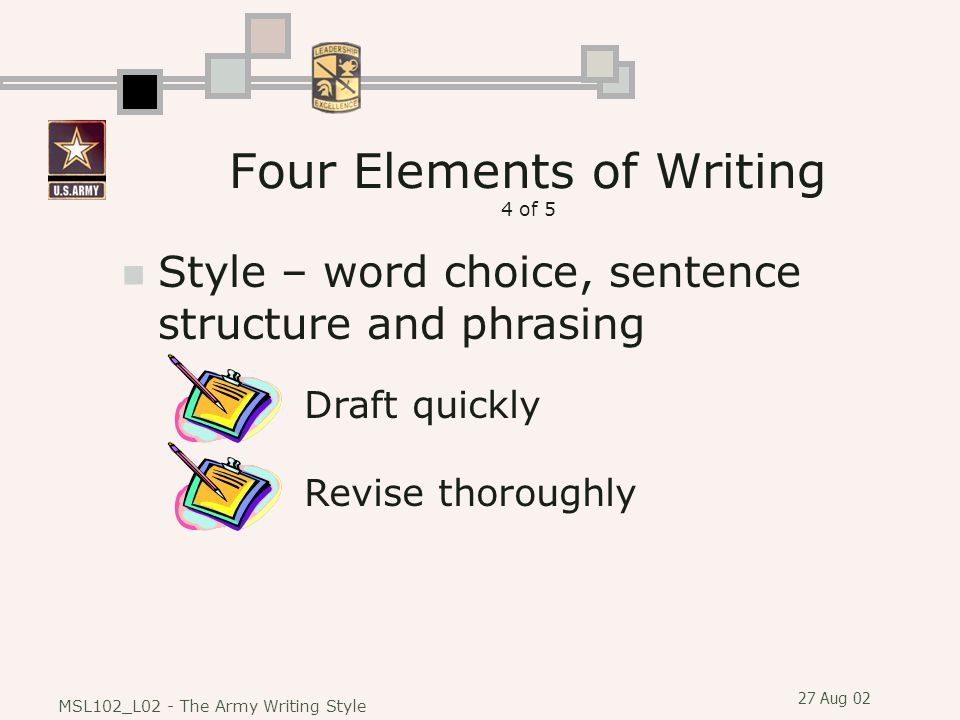 Four Elements of Writing 4 of 5