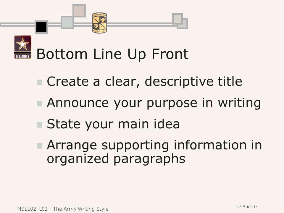 Bottom Line Up Front Create a clear, descriptive title