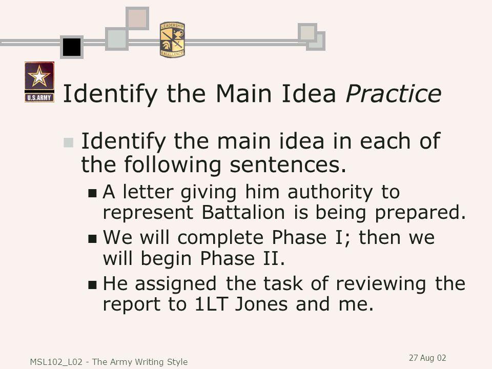 Identify the Main Idea Practice