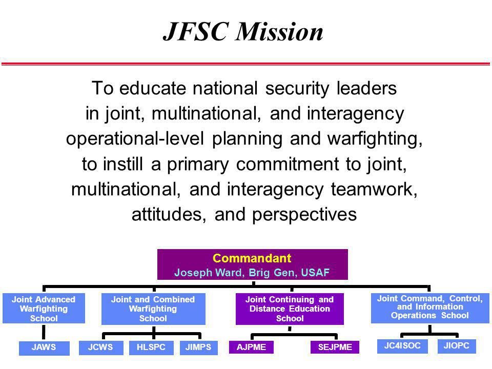 JFSC Mission To educate national security leaders