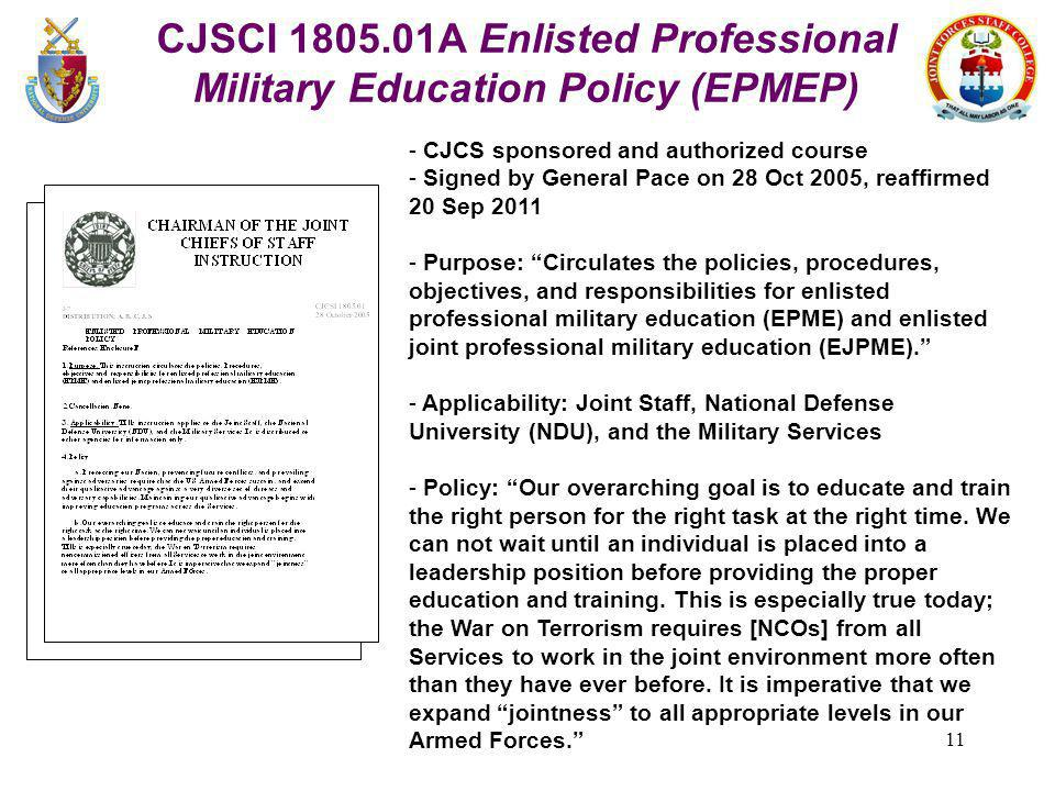 CJSCI 1805.01A Enlisted Professional Military Education Policy (EPMEP)