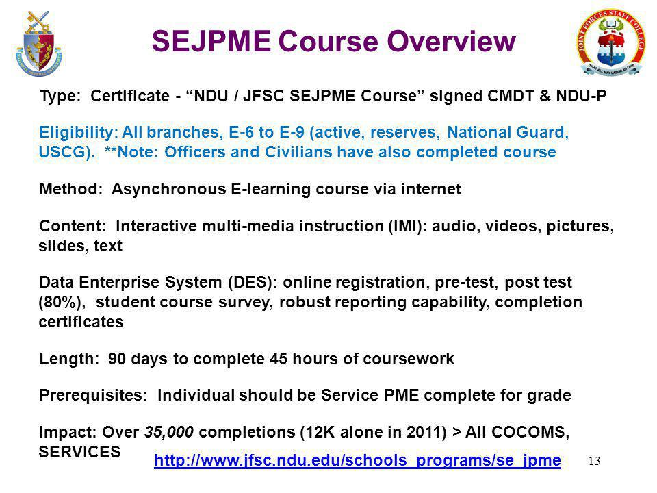 SEJPME Course Overview