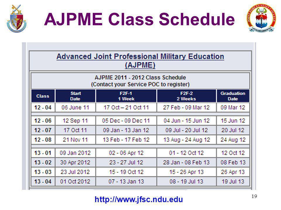 AJPME Class Schedule http://www.jfsc.ndu.edu